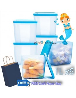 Freezermates OceanMermaid [BLUE] 1L x6 +Paper Bag