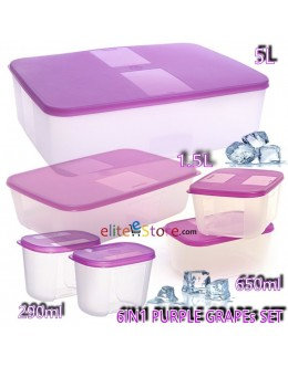 FREEZERMATE PURPLE GRAPEs 6IN1 SET [B]:290mlX2+ 650mlX2+ 1.5L+ 5L