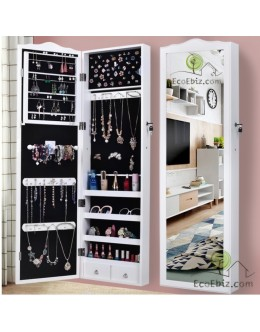 American Style Solid Wooden jewellery Cabinet with Mirror [White]