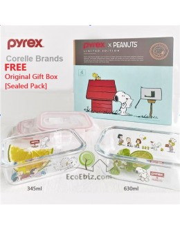 Corelle Brands Pyrex Peanuts Snoopy Glass Food Storage Gift Box set (Sealed)