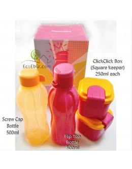 ClickClick 4in1 Gift Set A.Screw Cap and Flip Top Bottle +2 ClickClick Box +FREE Gift Box
