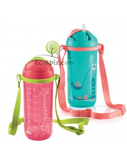 Sling Bottle Twinkle Straw Tumbler 400ml [A] RED Giraffe,[B] GREEN Sail