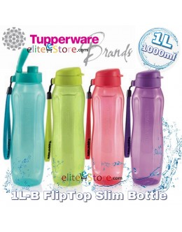 Eco Water Bottle 1L 1000ml [FlipTop SLIM]