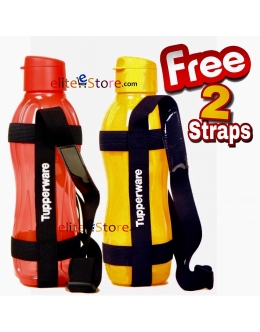 Eco Water Bottle 1L Flip Top 2 in Set [RED/ORANGE] FREE 2 Straps