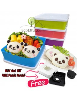 Lunch Box ColourfulBento Square Container Set 620ml x4 [FREE Panda / Bread Cutter]