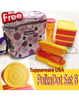PolkaDot Set B.3Lunch Box 1Tumbler +Cutlery Box Set +FREE Warmer Carrier