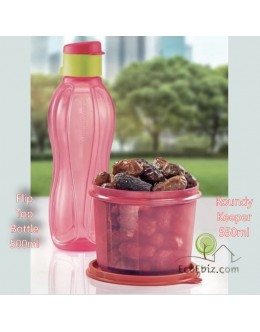 2in1 Peach Set: Flip top Bottle 500ml and Roundy food keeper 550ml