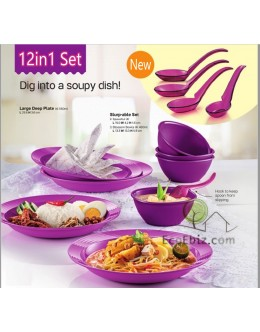 Bowls 12in1 Set [PURPLE]: PLATEs BOWLs SPOONs * Microwaveable